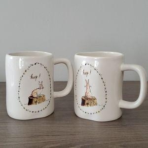 Rae Dunn Hop Bunny Rabbit Mug Set of 2